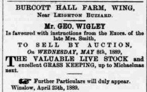Advertisement for the sale of livestock at Burcott Hall Farm, Bucks Herald 27 April 1889