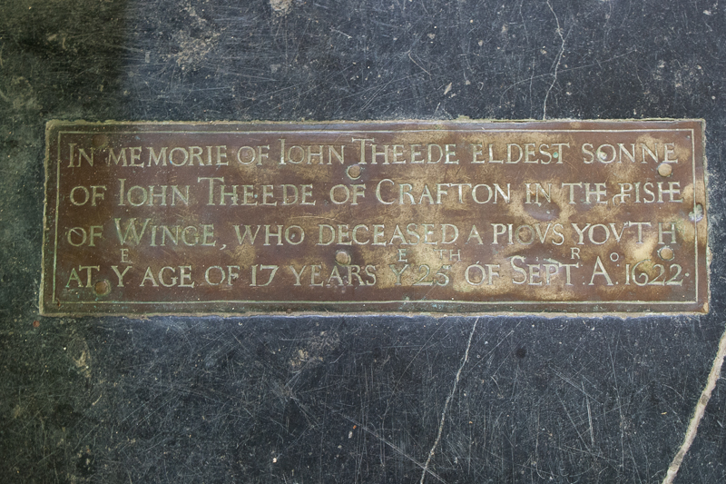 Memorial of John Theede in Wing Buckinghamshire