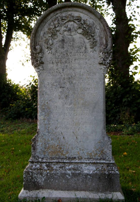 Gravestone of James Vallentine, Harold David and Robert Claud Vallentine and Kate Scroggie