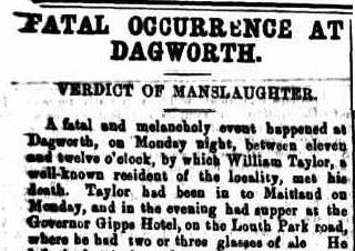 Report of William Taylor's death in The Maitland Mercury and Hunter River General Advertiser, Thursday 22 February 1877, page 6
