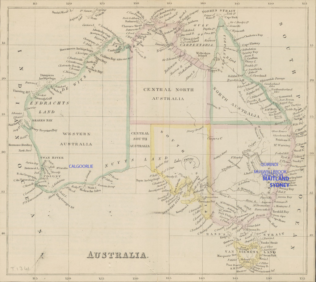 annotated Australia map 1848