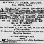 Ad for the auction of the household furniture and effects of John Prentice Bucks Herald 25 Apr 1908