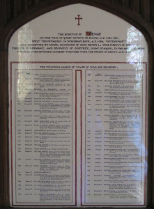 Wing clergy list in All Saints church March 2006