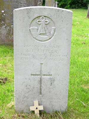 Gravestone of Arthur Edwin Cutler in Wing Buckinghamshire