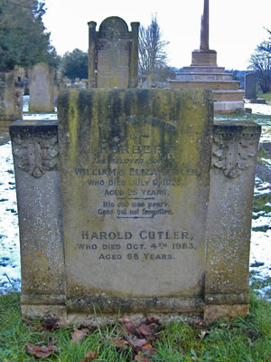 Gravestone of Herbert and Harold Cutler of Wing Buckinghamshire
