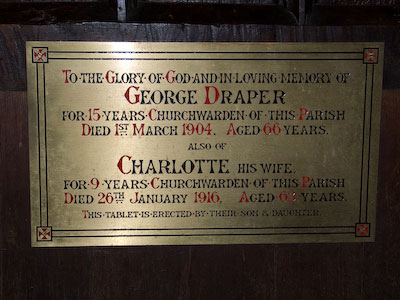 Memorial to George Draper and Charlotte Draper of Wing