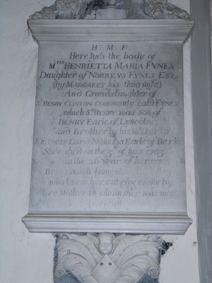 Memorial to Henrietta Maria Fynes of Wing Buckinghamshire
