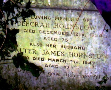 Gravestone of Walter James Hounslow and Deborah Hounslow in Wing Buckinghamshire