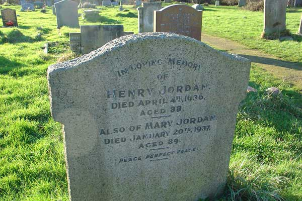 Memorial to Henry Jordan and Mary Jordan in Wing Buckinghamshire