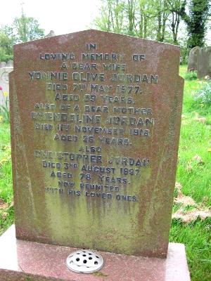 Memorial to Yonnie Olive Jordan, Gwendoline Jordan and Christopher Jordan of Wing Buckinghamshire
