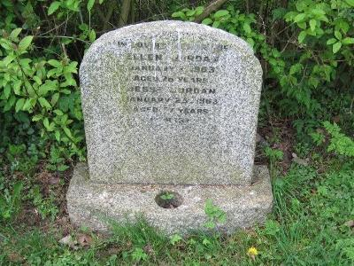 Memorial to Ellen Jordan and Jesse Jordan in Wing Buckinghamshre