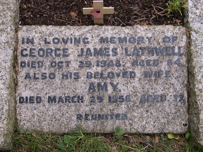 Gravestone of George James Lathwell and Amy Lathwell