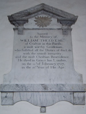 Memorial to William Theed of Wing Buckinghamshire