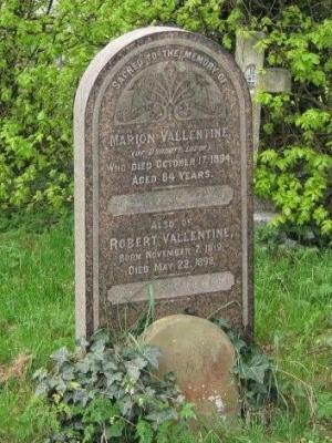 Gravestone of Marion Vallentine and Robert Vallentine in Wing Buckinghamshire