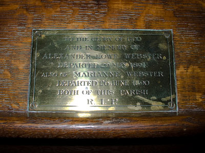 Memorial to Alexander Lowe Webster and Marianne Webster of Wing Buckinghamshire